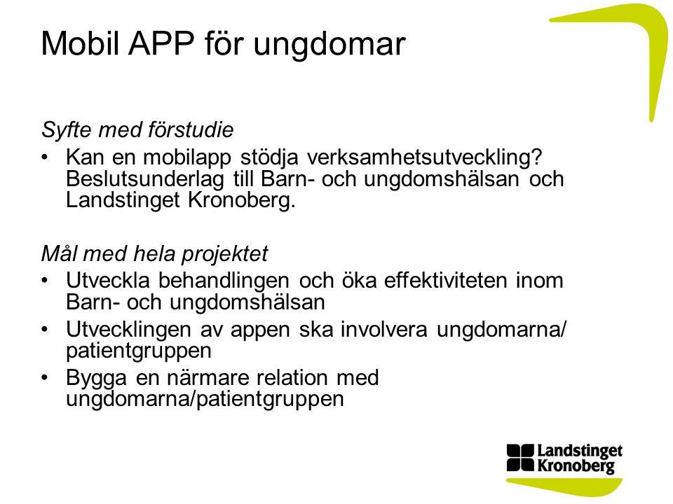Mobil APP för ungdomar Syfte med förstudie •Kan en mobilapp stödja verksamhetsutveckling.