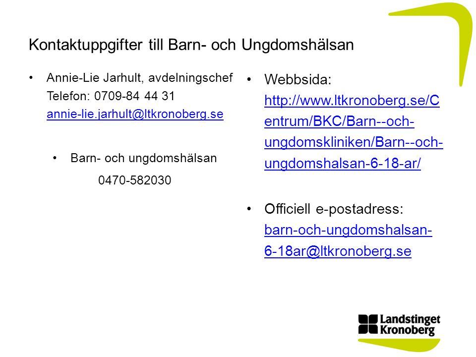 Kontaktuppgifter till Barn- och Ungdomshälsan •Annie-Lie Jarhult, avdelningschef Telefon: 0709-84 44 31 annie-lie.jarhult@ltkronoberg.se annie-lie.jarhult@ltkronoberg.se •Barn- och ungdomshälsan 0470-582030 •Webbsida: http://www.ltkronoberg.se/C entrum/BKC/Barn--och- ungdomskliniken/Barn--och- ungdomshalsan-6-18-ar/ http://www.ltkronoberg.se/C entrum/BKC/Barn--och- ungdomskliniken/Barn--och- ungdomshalsan-6-18-ar/ •Officiell e-postadress: barn-och-ungdomshalsan- 6-18ar@ltkronoberg.se barn-och-ungdomshalsan- 6-18ar@ltkronoberg.se