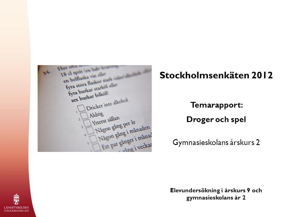 Stockholmsenkäten 2012 Temarapport: Droger och spel Gymnasieskolans årskurs 2 Elevundersökning i årskurs 9 och gymnasieskolans år 2
