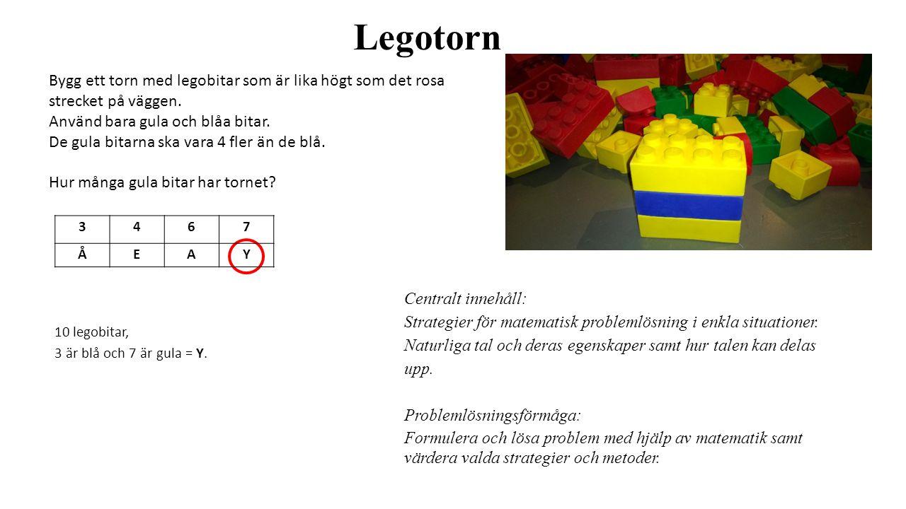 Legotorn Bygg ett torn med legobitar som är lika högt som det rosa strecket på väggen. Använd bara gula och blåa bitar. De gula bitarna ska vara 4 fle