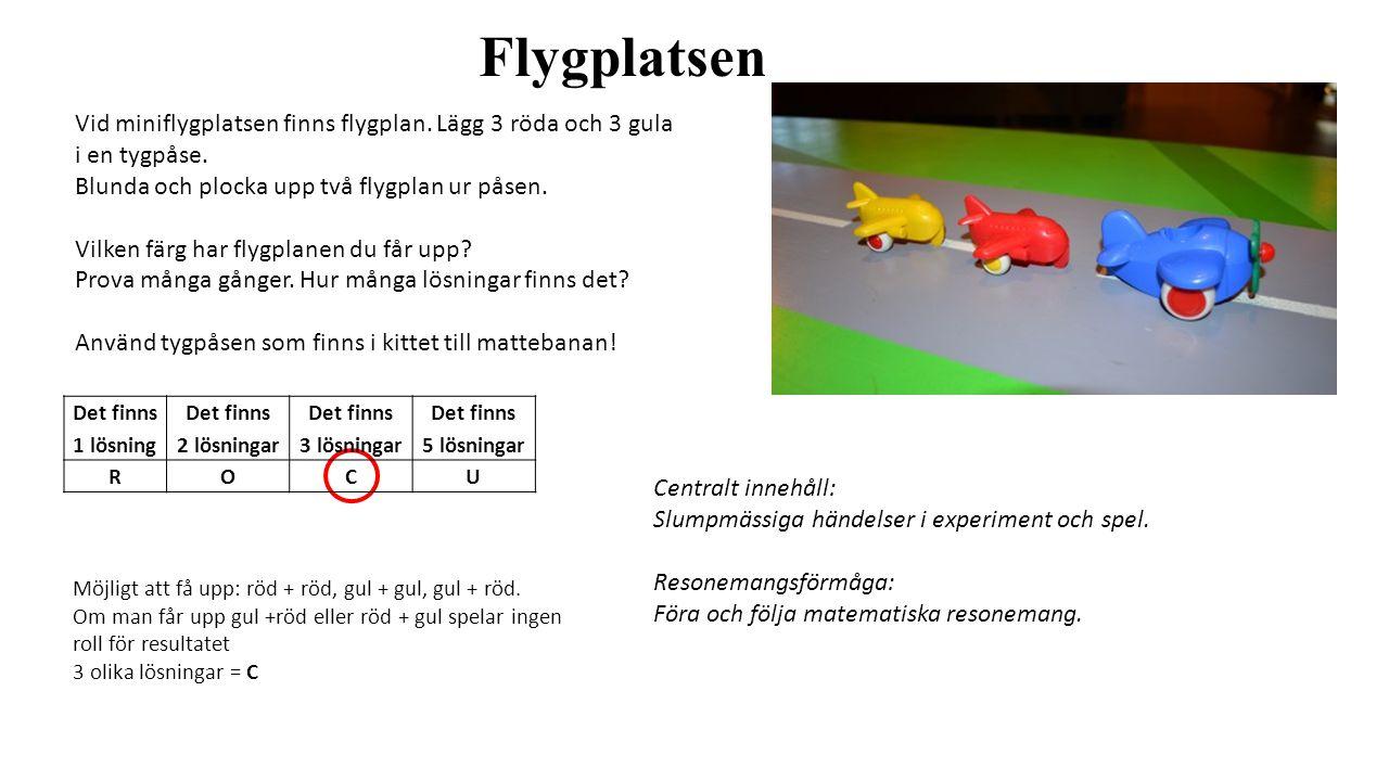 Flygplatsen Vid miniflygplatsen finns flygplan. Lägg 3 röda och 3 gula i en tygpåse. Blunda och plocka upp två flygplan ur påsen. Vilken färg har flyg