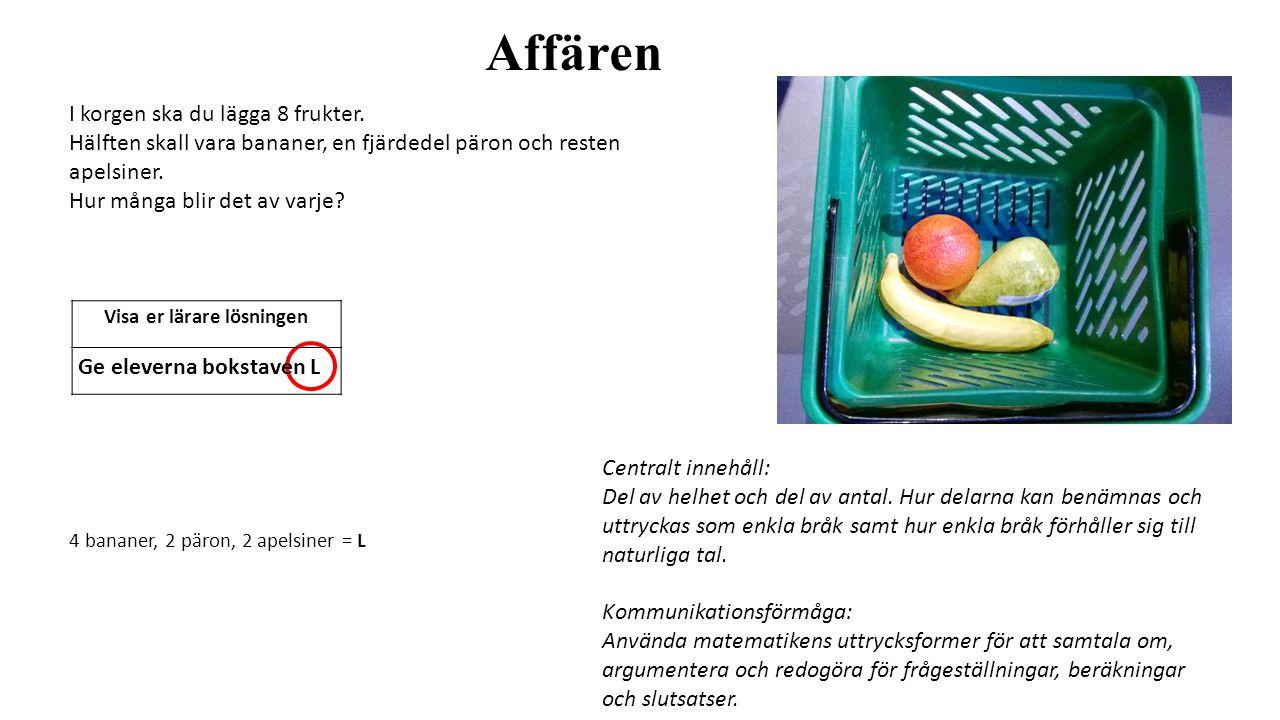 Affären I korgen ska du lägga 8 frukter. Hälften skall vara bananer, en fjärdedel päron och resten apelsiner. Hur många blir det av varje? 4 bananer,