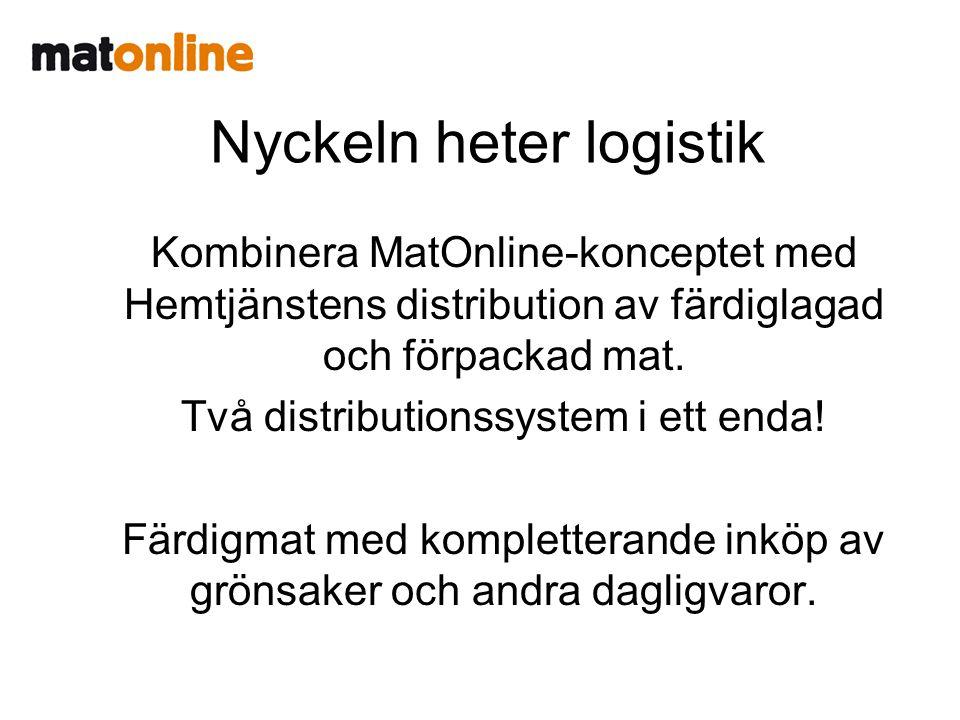 Nyckeln heter logistik Kombinera MatOnline-konceptet med Hemtjänstens distribution av färdiglagad och förpackad mat.