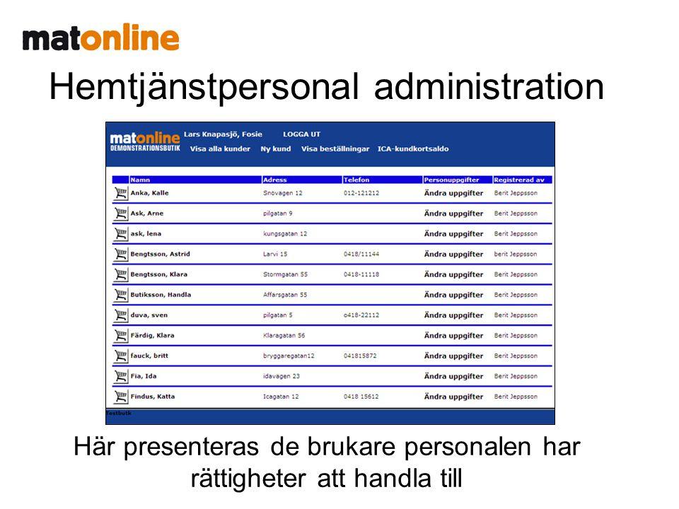 Hemtjänstpersonal administration Här presenteras de brukare personalen har rättigheter att handla till