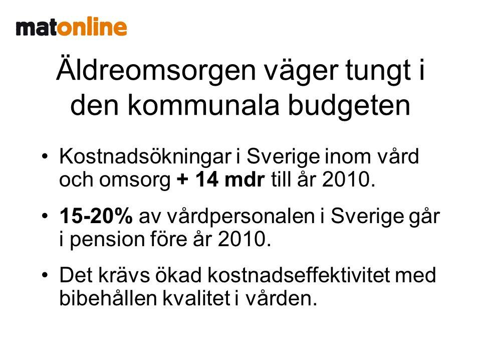 Äldreomsorgen väger tungt i den kommunala budgeten •Kostnadsökningar i Sverige inom vård och omsorg + 14 mdr till år 2010..