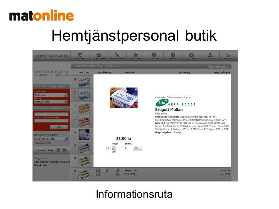 Hemtjänstpersonal butik Informationsruta