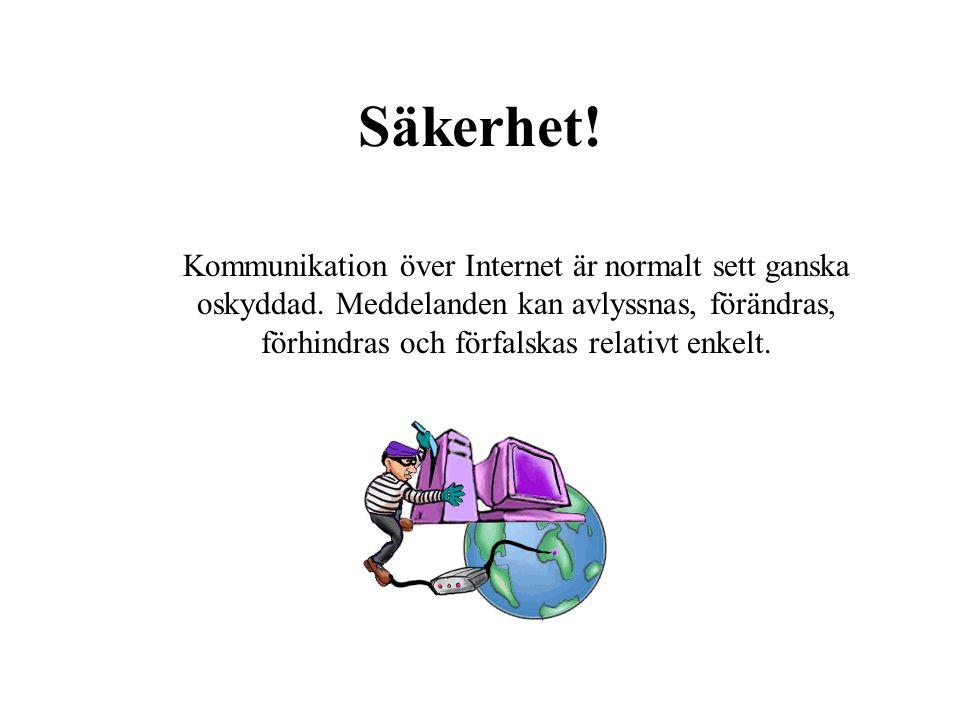 Säkerhet! Kommunikation över Internet är normalt sett ganska oskyddad. Meddelanden kan avlyssnas, förändras, förhindras och förfalskas relativt enkelt