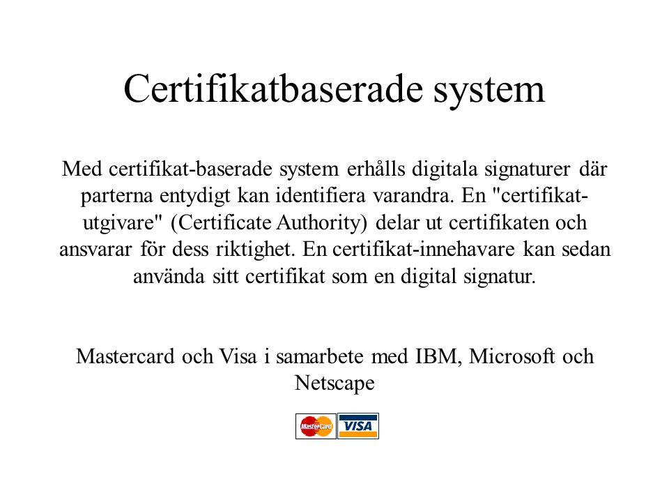 Certifikatbaserade system Med certifikat-baserade system erhålls digitala signaturer där parterna entydigt kan identifiera varandra. En