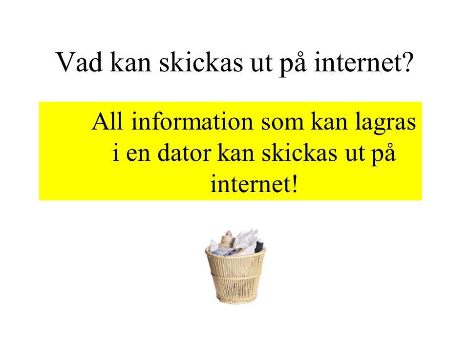 Vad kan skickas ut på internet? All information som kan lagras i en dator kan skickas ut på internet!