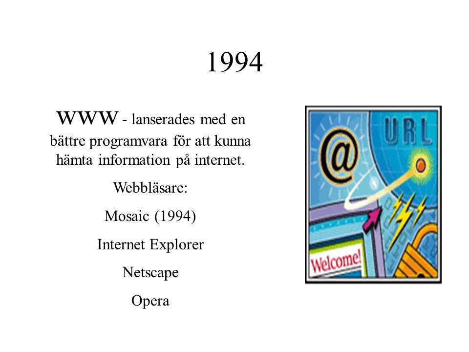 1994 www - lanserades med en bättre programvara för att kunna hämta information på internet. Webbläsare: Mosaic (1994) Internet Explorer Netscape Oper