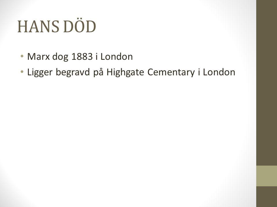 HANS DÖD • Marx dog 1883 i London • Ligger begravd på Highgate Cementary i London