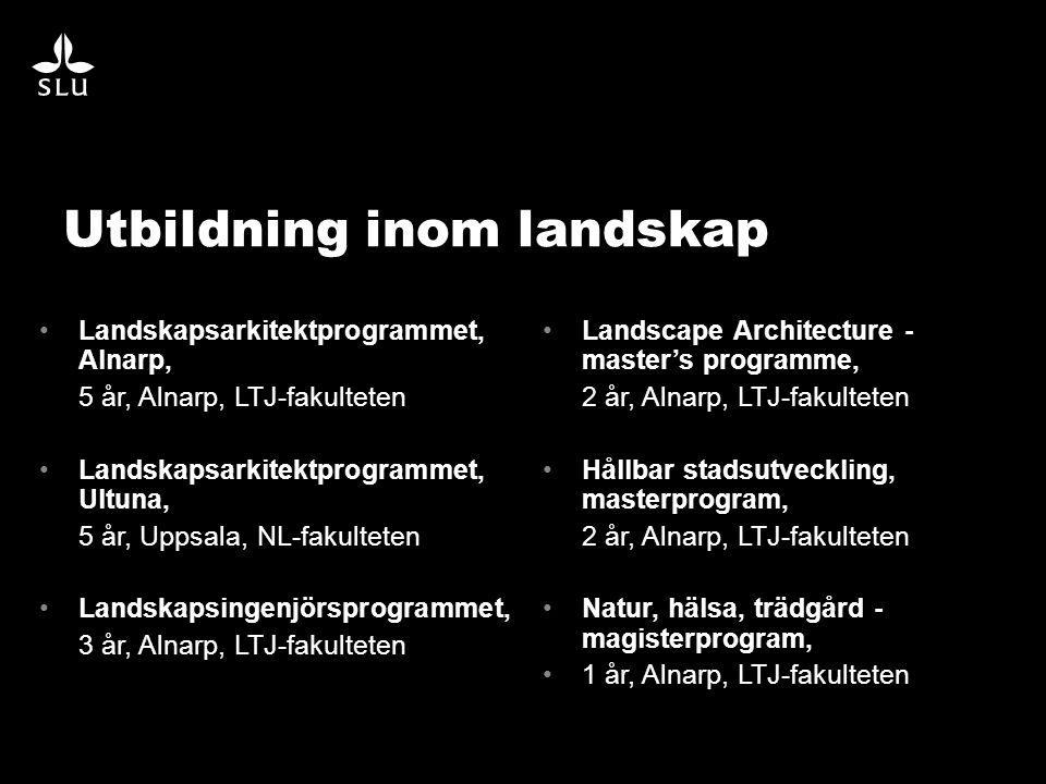 •Landskapsarkitektprogrammet, Alnarp, 5 år, Alnarp, LTJ-fakulteten •Landskapsarkitektprogrammet, Ultuna, 5 år, Uppsala, NL-fakulteten •Landskapsingenjörsprogrammet, 3 år, Alnarp, LTJ-fakulteten •Landscape Architecture - master's programme, 2 år, Alnarp, LTJ-fakulteten •Hållbar stadsutveckling, masterprogram, 2 år, Alnarp, LTJ-fakulteten •Natur, hälsa, trädgård - magisterprogram, •1 år, Alnarp, LTJ-fakulteten Utbildning inom landskap