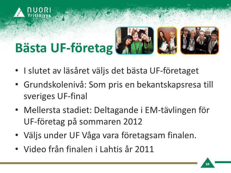 Bästa UF-företag • I slutet av läsåret väljs det bästa UF-företaget • Grundskolenivå: Som pris en bekantskapsresa till sveriges UF-final • Mellersta stadiet: Deltagande i EM-tävlingen för UF-företag på sommaren 2012 • Väljs under UF Våga vara företagsam finalen.