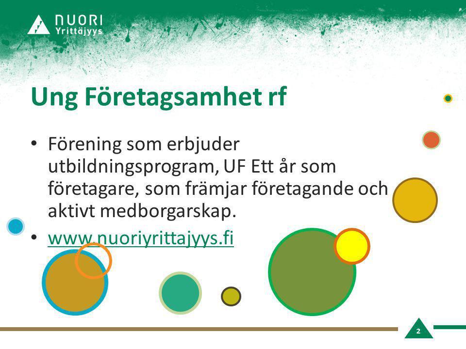 Ung Företagsamhet rf • Förening som erbjuder utbildningsprogram, UF Ett år som företagare, som främjar företagande och aktivt medborgarskap. • www.nuo