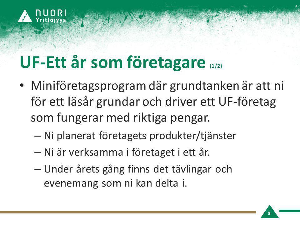 UF-Ett år som företagare (1/2) • Miniföretagsprogram där grundtanken är att ni för ett läsår grundar och driver ett UF-företag som fungerar med riktig