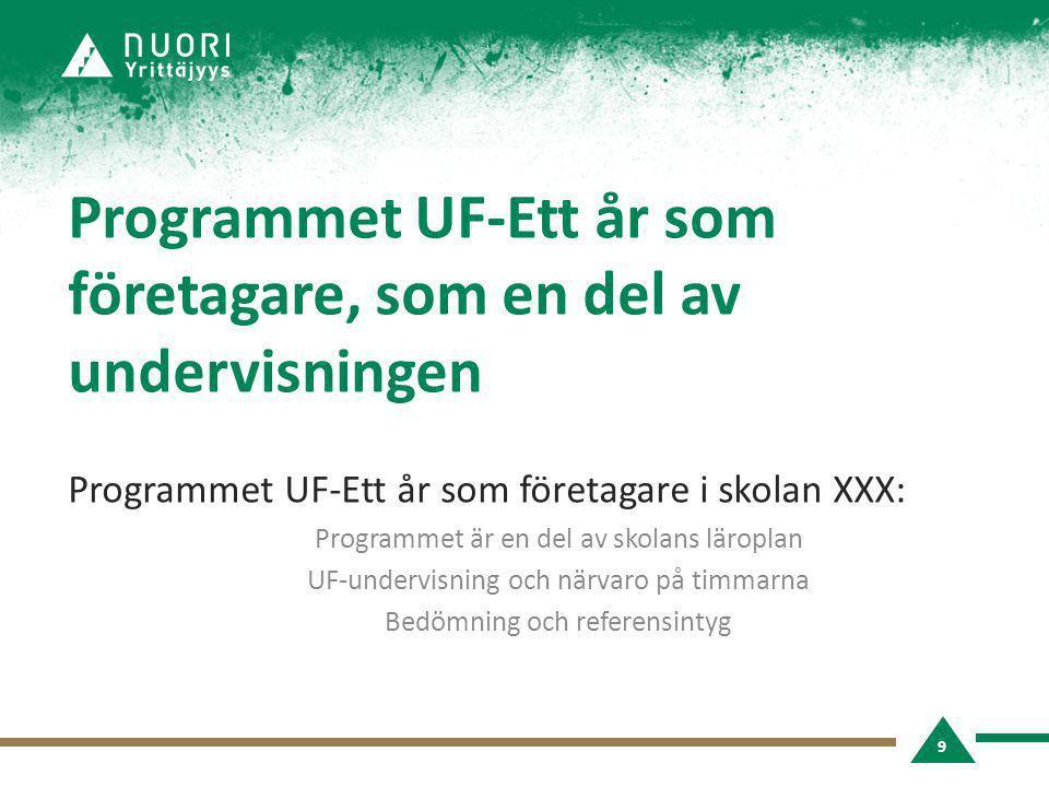 Programmet UF-Ett år som företagare, som en del av undervisningen Programmet UF-Ett år som företagare i skolan XXX: Programmet är en del av skolans läroplan UF-undervisning och närvaro på timmarna Bedömning och referensintyg 9