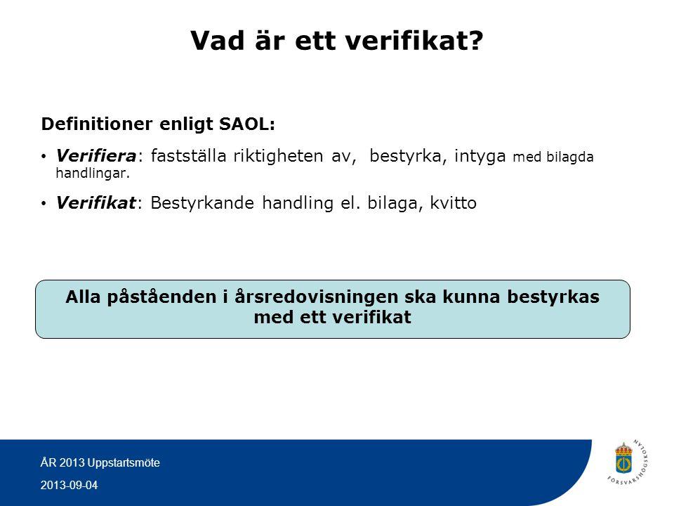 2013-09-04 ÅR 2013 Uppstartsmöte Vad är ett verifikat? Definitioner enligt SAOL: • Verifiera: fastställa riktigheten av, bestyrka, intyga med bilagda