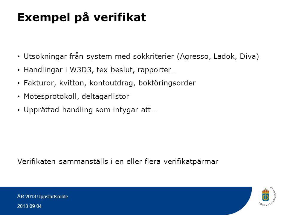 2013-09-04 ÅR 2013 Uppstartsmöte Exempel på verifikat • Utsökningar från system med sökkriterier (Agresso, Ladok, Diva) • Handlingar i W3D3, tex beslu