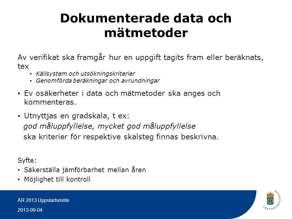 2013-09-04 ÅR 2013 Uppstartsmöte Dokumenterade data och mätmetoder Av verifikat ska framgår hur en uppgift tagits fram eller beräknats, tex • Källsyst
