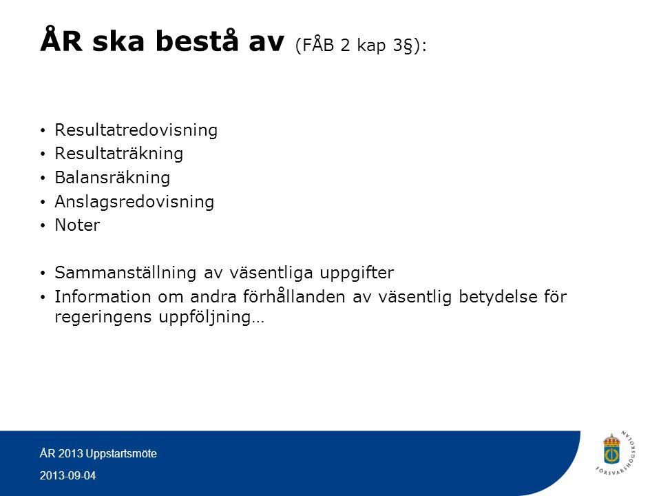 2013-09-04 ÅR 2013 Uppstartsmöte ÅR ska bestå av (FÅB 2 kap 3§): • Resultatredovisning • Resultaträkning • Balansräkning • Anslagsredovisning • Noter