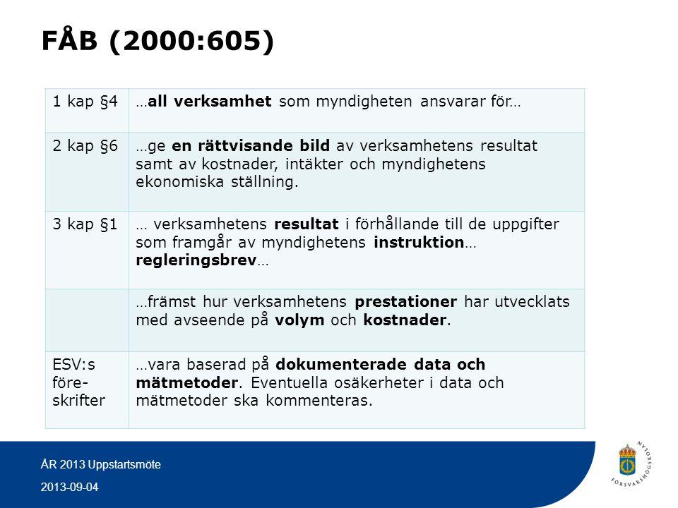 2013-09-04 ÅR 2013 Uppstartsmöte FÅB (2000:605) 1 kap §4…all verksamhet som myndigheten ansvarar för… 2 kap §6…ge en rättvisande bild av verksamhetens