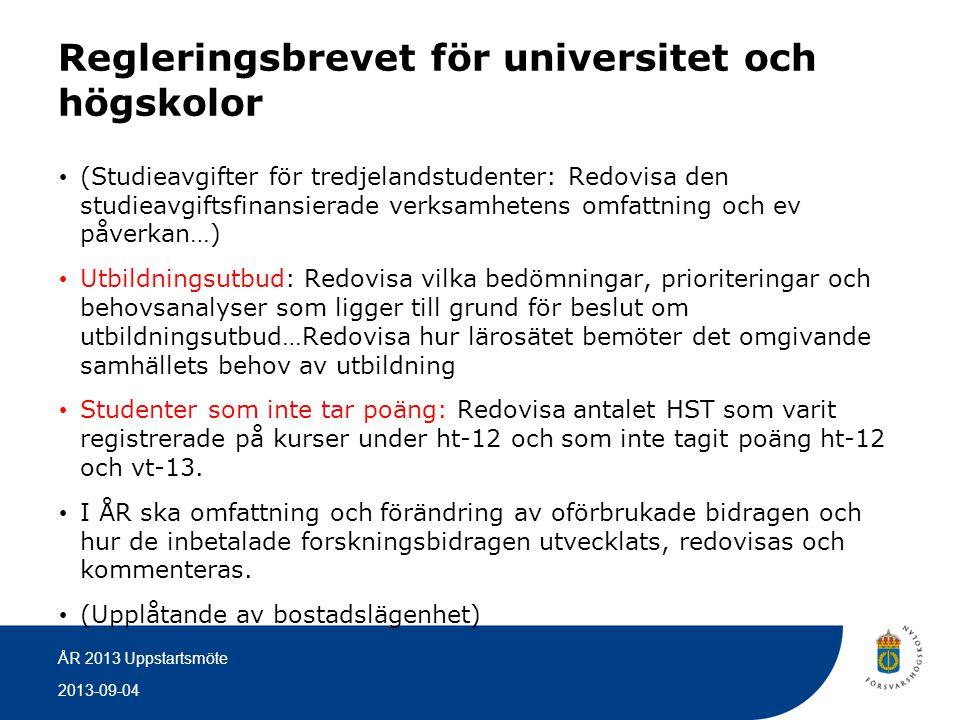 2013-09-04 ÅR 2013 Uppstartsmöte Regleringsbrevet för Förvarshögskolan • Under 2013 bör minst 80 nybörjarstudenter ha påbörjat grundutbildning på officersprogrammet.