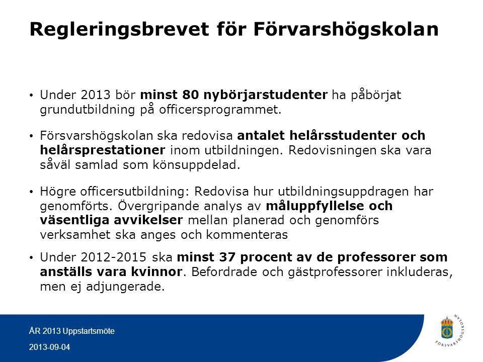 2013-09-04 ÅR 2013 Uppstartsmöte Regleringsbrevet för Förvarshögskolan • Under 2013 bör minst 80 nybörjarstudenter ha påbörjat grundutbildning på offi