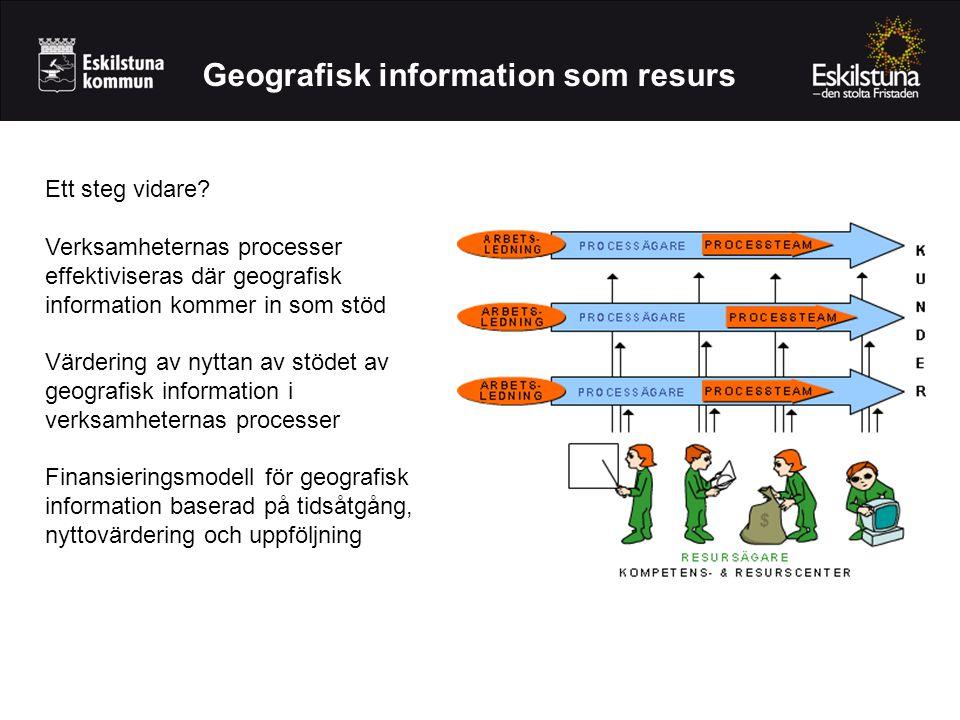 Geografisk information som resurs Ett steg vidare? Verksamheternas processer effektiviseras där geografisk information kommer in som stöd Värdering av