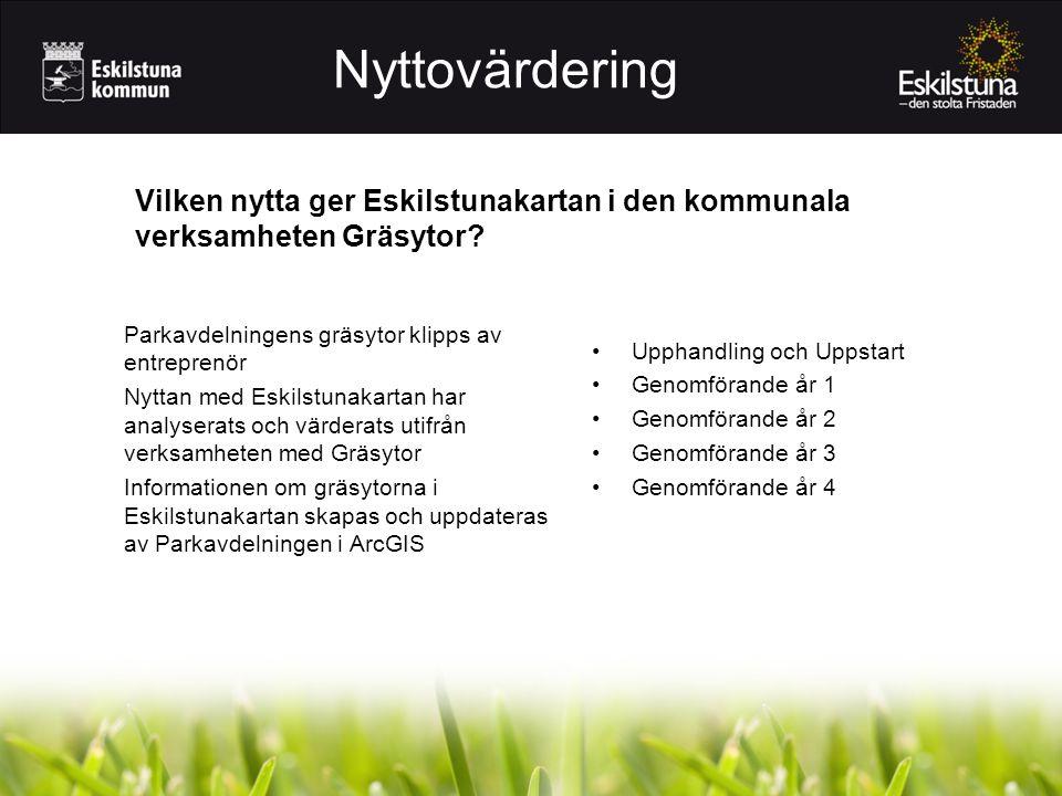 Parkavdelningens gräsytor klipps av entreprenör Nyttan med Eskilstunakartan har analyserats och värderats utifrån verksamheten med Gräsytor Informationen om gräsytorna i Eskilstunakartan skapas och uppdateras av Parkavdelningen i ArcGIS Vilken nytta ger Eskilstunakartan i den kommunala verksamheten Gräsytor.