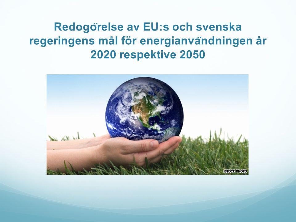 Redogo ̈ relse av EU:s och svenska regeringens mål för energianva ̈ ndningen år 2020 respektive 2050