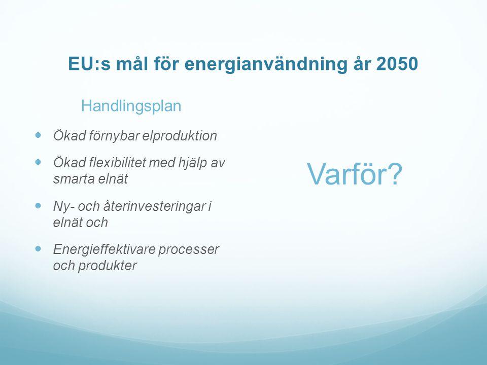 EU:s mål för energianvändning år 2050 Handlingsplan  Ökad förnybar elproduktion  Ökad flexibilitet med hjälp av smarta elnät  Ny- och återinvesteringar i elnät och  Energieffektivare processer och produkter Varför?