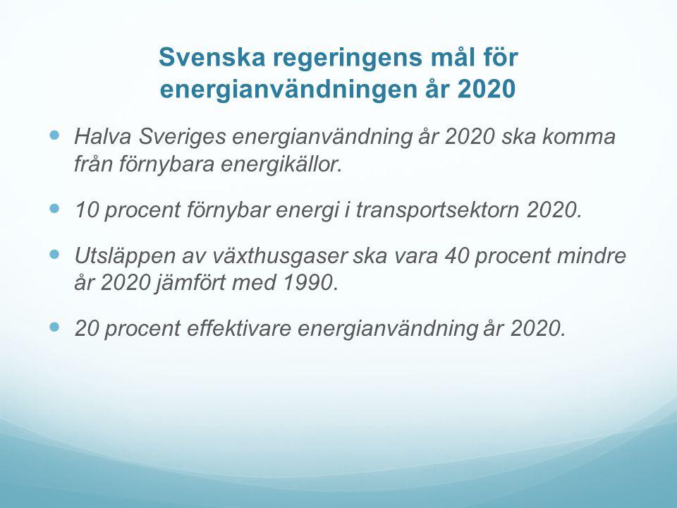 Svenska regeringens mål för energianvändningen år 2020  Halva Sveriges energianvändning år 2020 ska komma från förnybara energikällor.