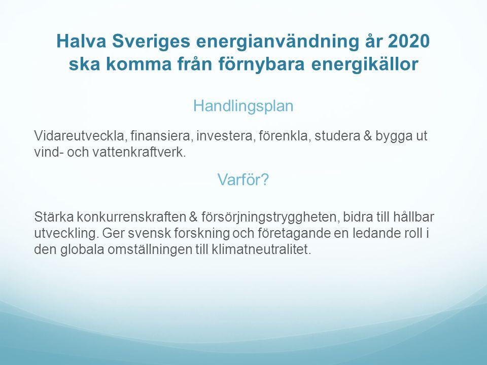 Halva Sveriges energianvändning år 2020 ska komma från förnybara energikällor Handlingsplan Vidareutveckla, finansiera, investera, förenkla, studera & bygga ut vind- och vattenkraftverk.