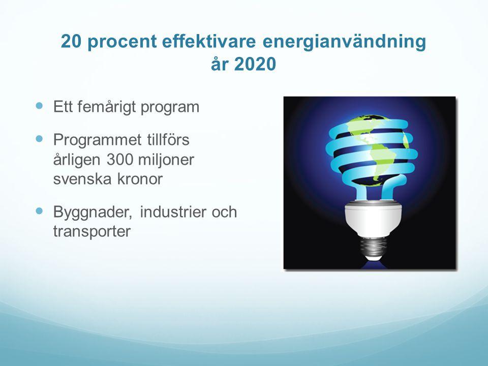 20 procent effektivare energianvändning år 2020  Ett femårigt program  Programmet tillförs årligen 300 miljoner svenska kronor  Byggnader, industrier och transporter