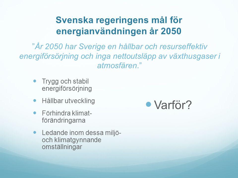 Svenska regeringens mål för energianvändningen år 2050 År 2050 har Sverige en hållbar och resurseffektiv energiförsörjning och inga nettoutsläpp av växthusgaser i atmosfären.  Trygg och stabil energiförsörjning  Hållbar utveckling  Förhindra klimat- förändringarna  Ledande inom dessa miljö- och klimatgynnande omställningar  Varför