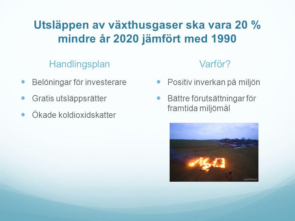 Handlingsplan  Belöningar för investerare  Gratis utsläppsrätter  Ökade koldioxidskatter Varför.