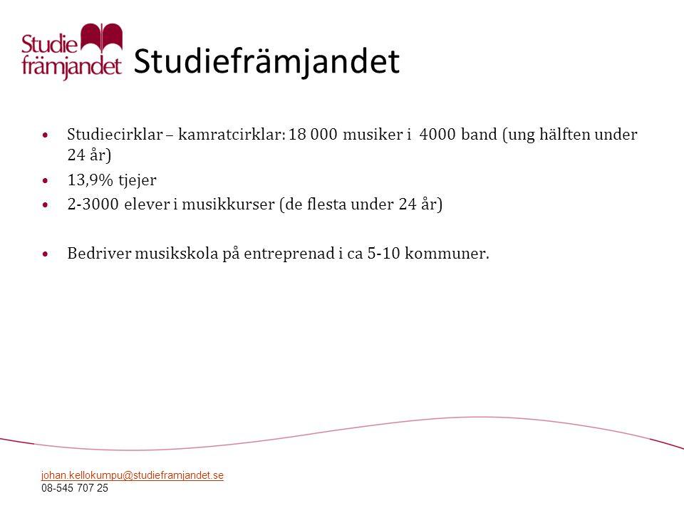 johan.kellokumpu@studieframjandet.se 08-545 707 25 Studiefrämjandet •Studiecirklar – kamratcirklar: 18 000 musiker i 4000 band (ung hälften under 24 å