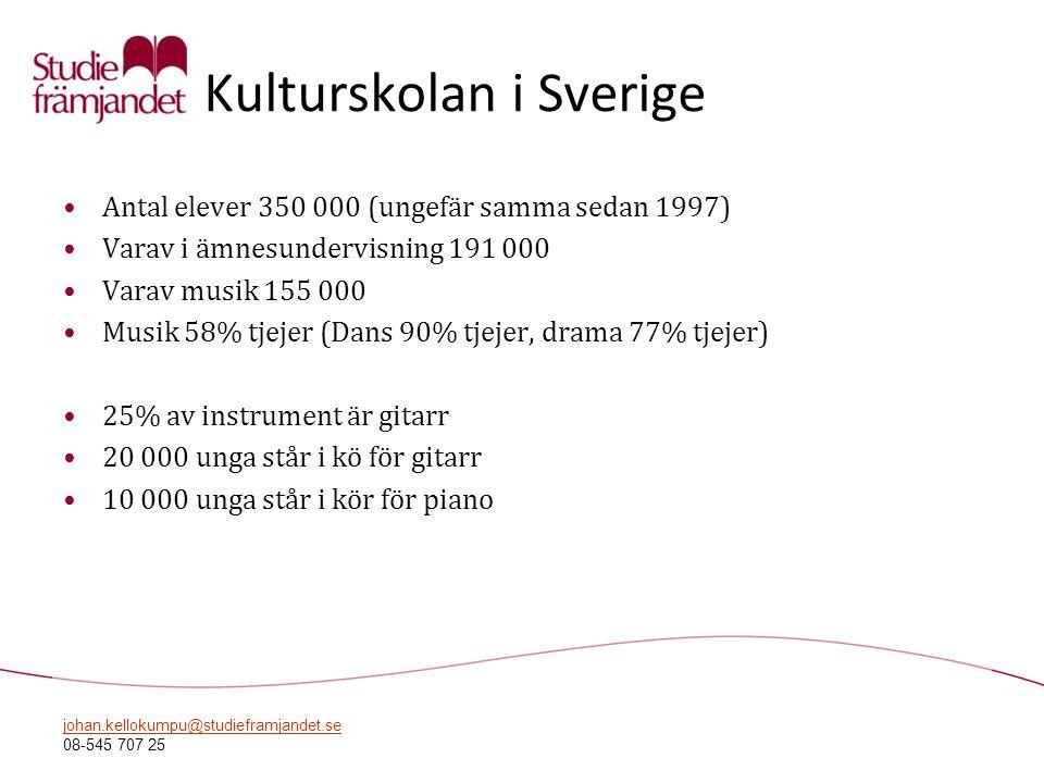 johan.kellokumpu@studieframjandet.se 08-545 707 25 Kulturskolan i Sverige •Antal elever 350 000 (ungefär samma sedan 1997) •Varav i ämnesundervisning