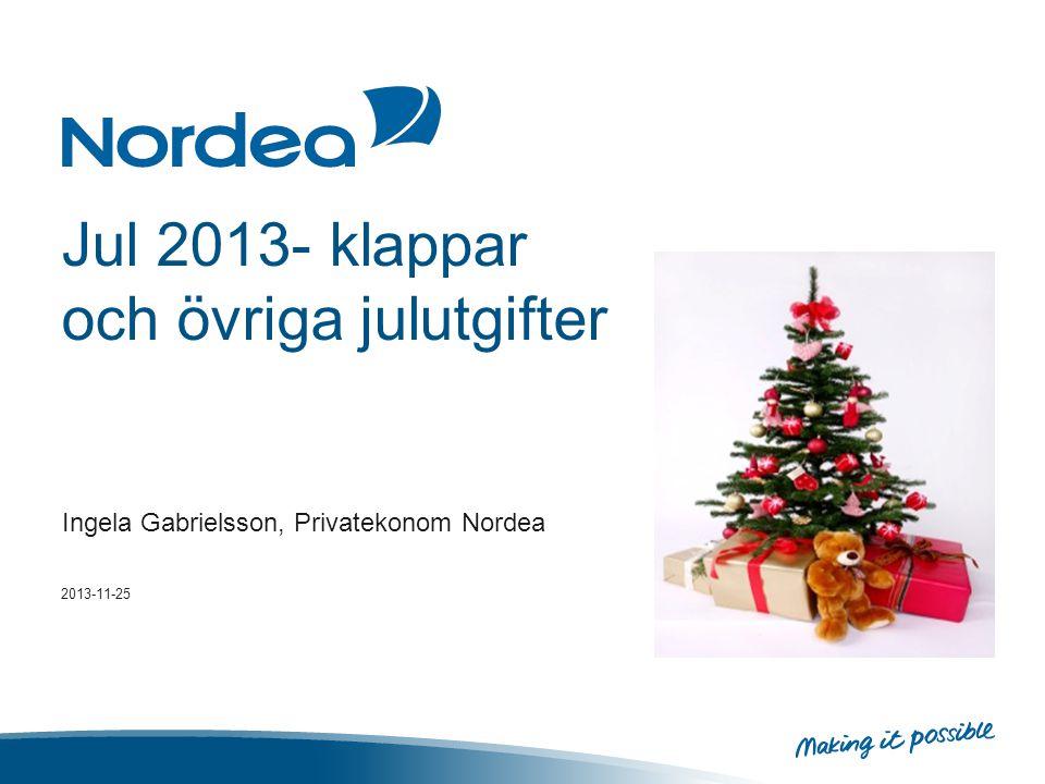 Sammanfattning •Den sammanlagda julbudgeten för julklappar och kringkostnader för julen landar i år på samma belopp som förra året, 5 100 kronor.