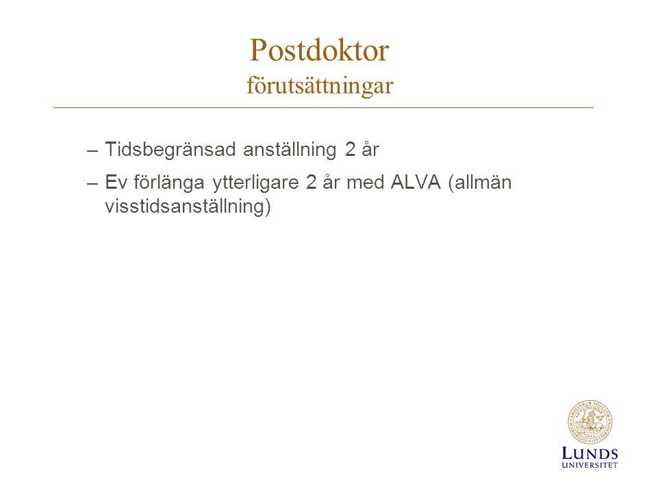 Postdoktor förutsättningar –Tidsbegränsad anställning 2 år –Ev förlänga ytterligare 2 år med ALVA (allmän visstidsanställning)