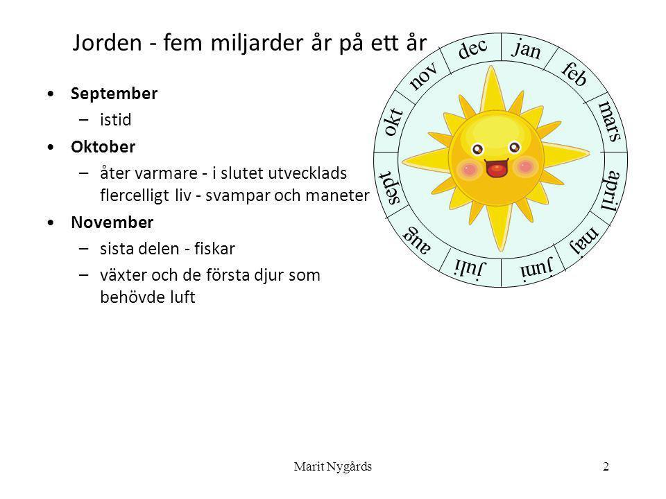 2 •September –istid •Oktober –åter varmare - i slutet utvecklads flercelligt liv - svampar och maneter •November –sista delen - fiskar –växter och de