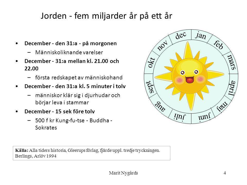 4 •December - den 31:a - på morgonen –Människoliknande varelser •December - 31:a mellan kl. 21.00 och 22.00 –första redskapet av människohand •Decembe