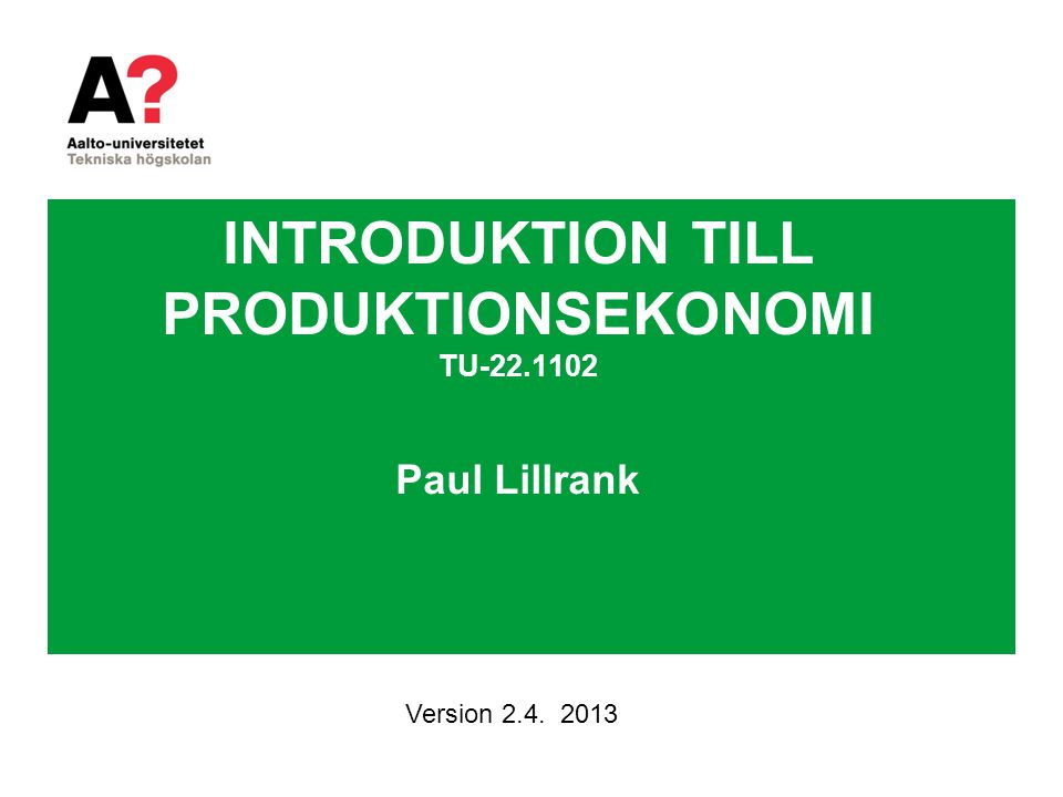 TJÄNSTEPRODUKTION PRODUKTION SYSTEM KONSUMTION SYSTEM Konsumtion Samproduktion Utfall Värde GOODS –DOMINANT LOGIC (GDL) SERVICE –DOMINANT LOGIC (SDL) With service processes, the customer provides significant inputs into the production process. (Sampson and Froehle 2006).