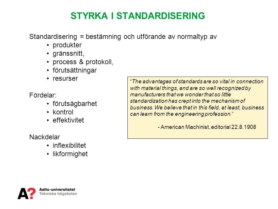 STYRKA I STANDARDISERING Standardisering = bestämning och utförande av normaltyp av • produkter • gränssnitt, • process & protokoll, • förutsättningar