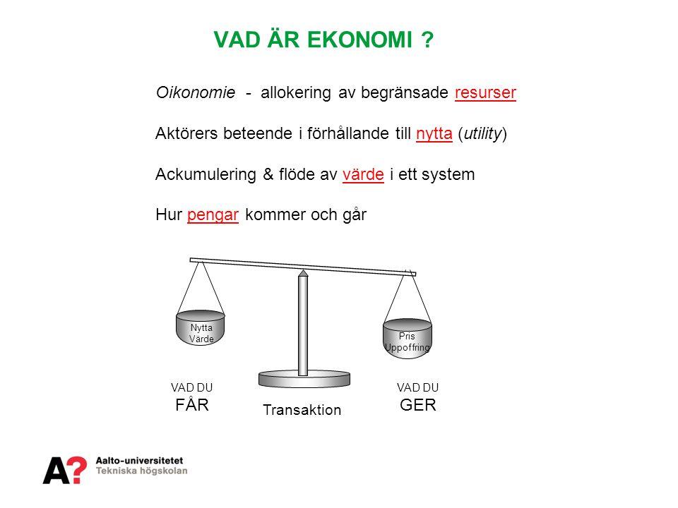 VAD ÄR EKONOMI ? Oikonomie - allokering av begränsade resurser Aktörers beteende i förhållande till nytta (utility) Ackumulering & flöde av värde i et