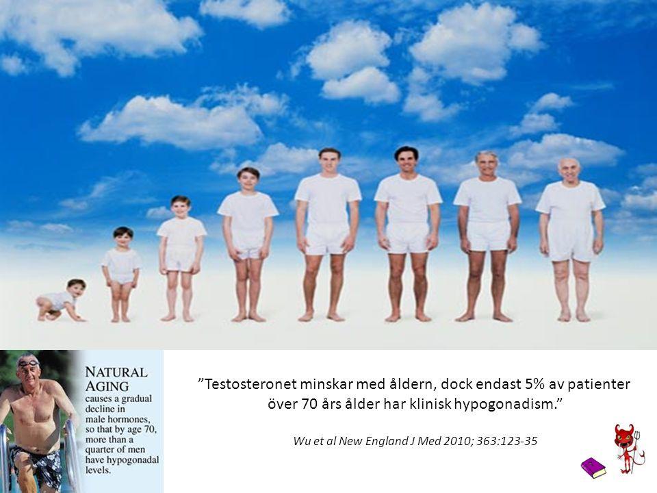 """""""Testosteronet minskar med åldern, dock endast 5% av patienter över 70 års ålder har klinisk hypogonadism."""" Wu et al New England J Med 2010; 363:123-3"""