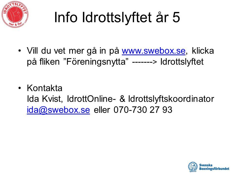 Info Idrottslyftet år 5 •Vill du vet mer gå in på www.swebox.se, klicka på fliken Föreningsnytta ------- > Idrottslyftetwww.swebox.se •Kontakta Ida Kvist, IdrottOnline- & Idrottslyftskoordinator ida@swebox.se eller 070-730 27 93 ida@swebox.se