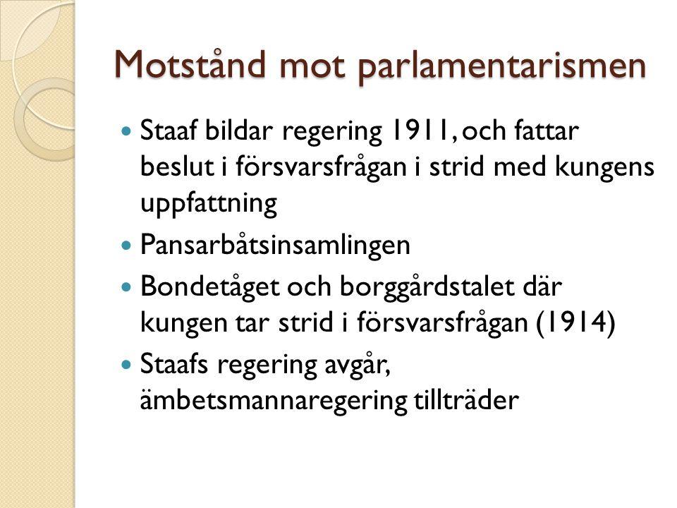 Motstånd mot parlamentarismen  Staaf bildar regering 1911, och fattar beslut i försvarsfrågan i strid med kungens uppfattning  Pansarbåtsinsamlingen
