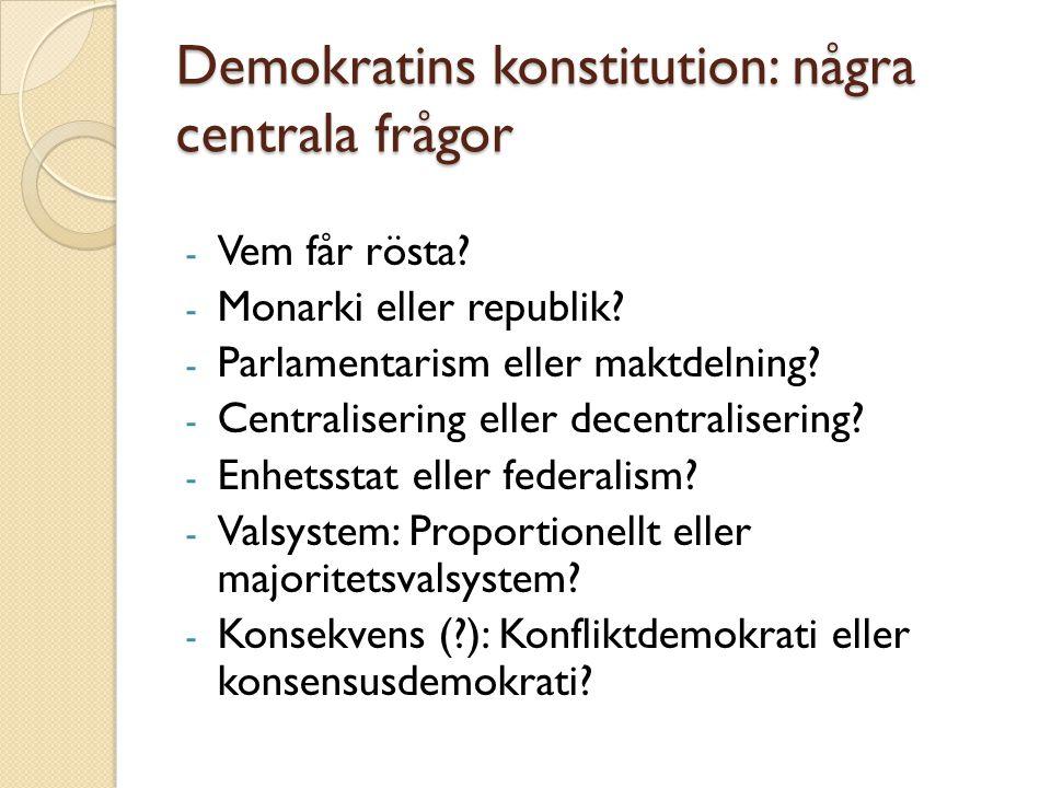 Demokratins konstitution: några centrala frågor - Vem får rösta? - Monarki eller republik? - Parlamentarism eller maktdelning? - Centralisering eller