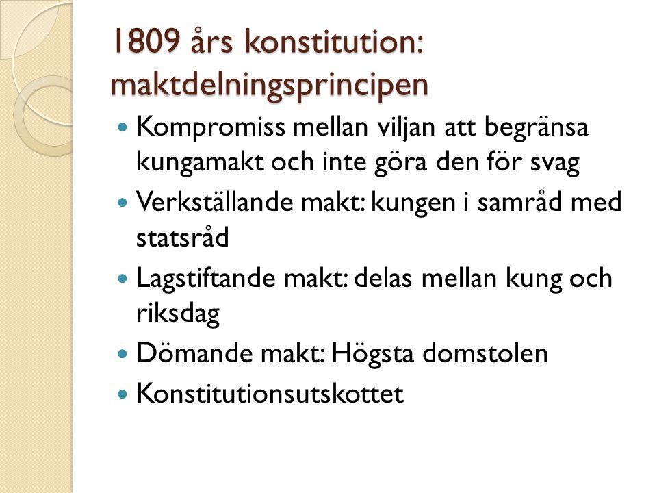 1809 års konstitution: maktdelningsprincipen  Kompromiss mellan viljan att begränsa kungamakt och inte göra den för svag  Verkställande makt: kungen